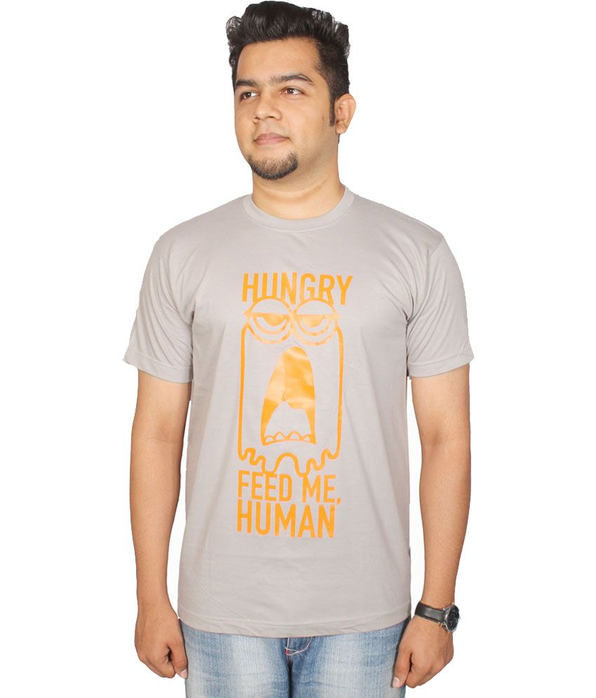 Leo Clothing Gray Hungry Printed Cotton T-shirt