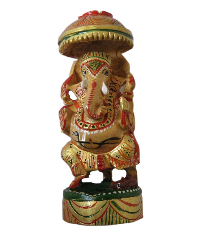 Unique Design Wooden Painting Ganesh 4 inch