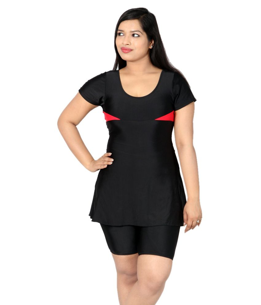 Indraprastha Black Swimsuit With Red Detailing and Extended Shorts/ Swimming Costume