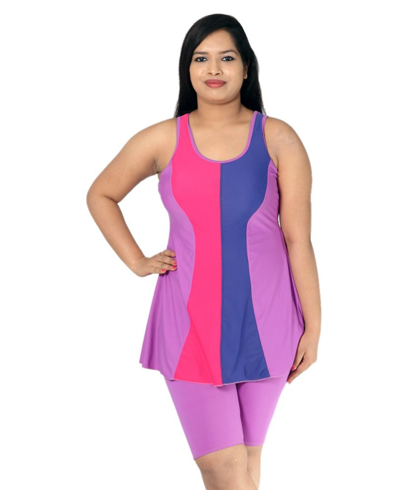 Indraprastha Lilac Swimsuit With Extended Shorts/ Swimming Costume