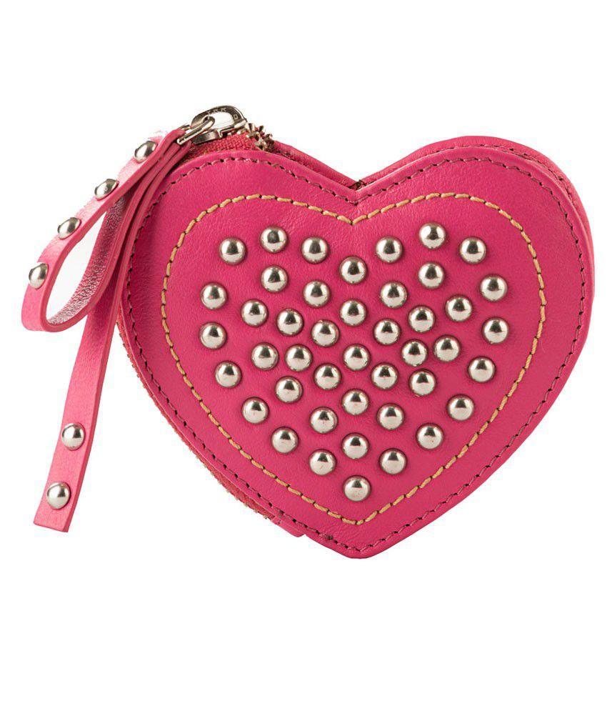 Klasse Pink Genuine Leather Heart Shaped Purse