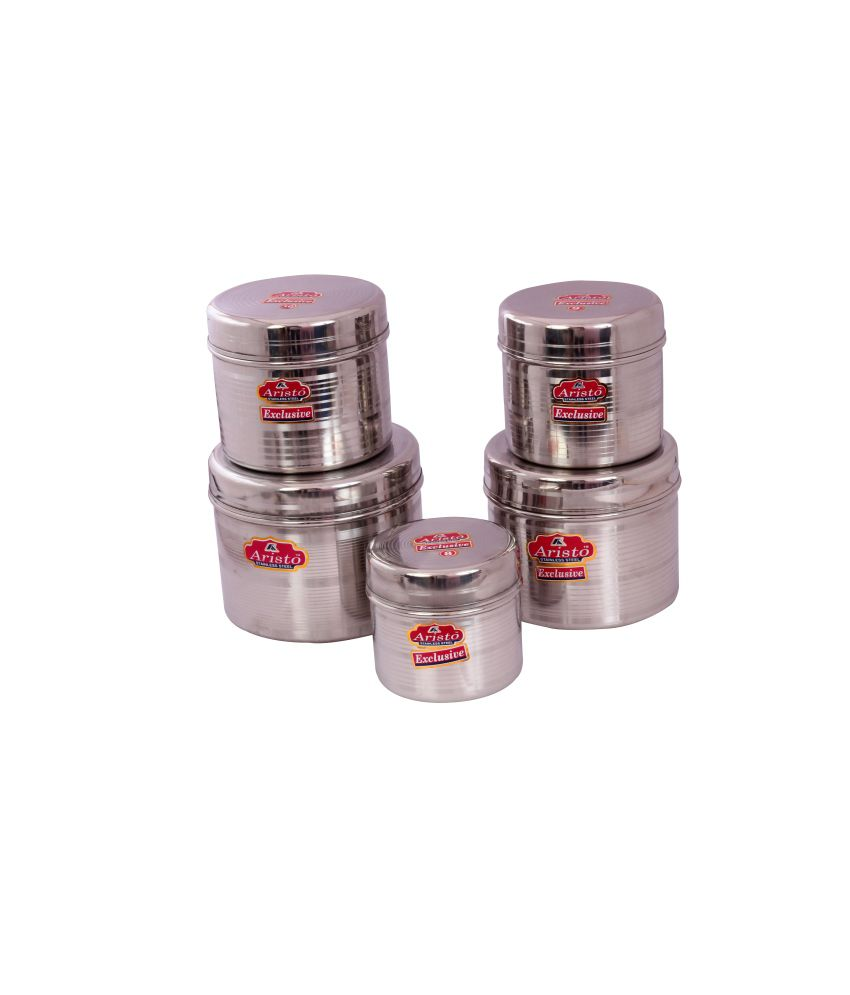 Aristo stainless steel container 5pcs storage sets with for Decor 500ml container