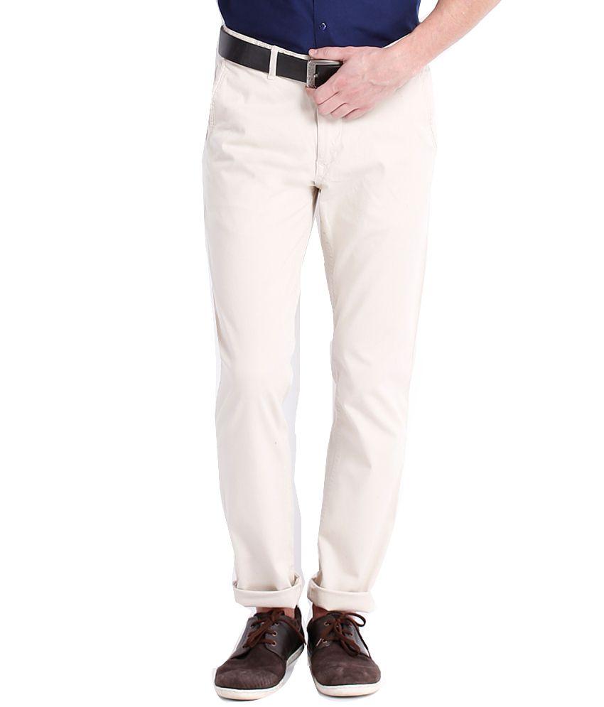 Black Coffee White Cotton Blend Slim Casual Men Trouser