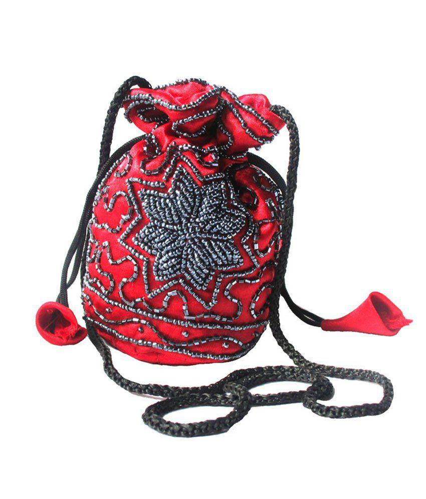 Jugnu Zari Hanadicraft Red Fabric Grey Beads Small Potli Bag