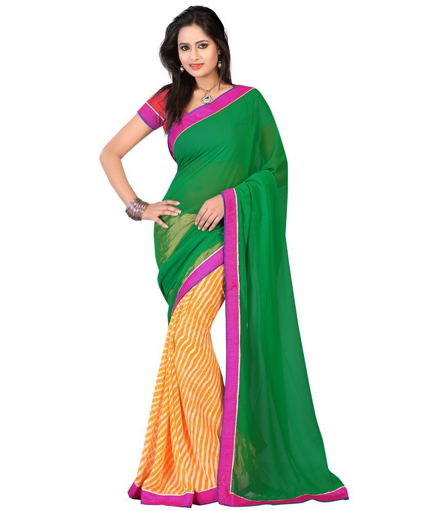 Kartik Creation Green Faux Georgette Saree
