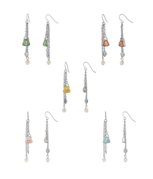 Aaradhaya Green Fish hook Geometrics Earrings