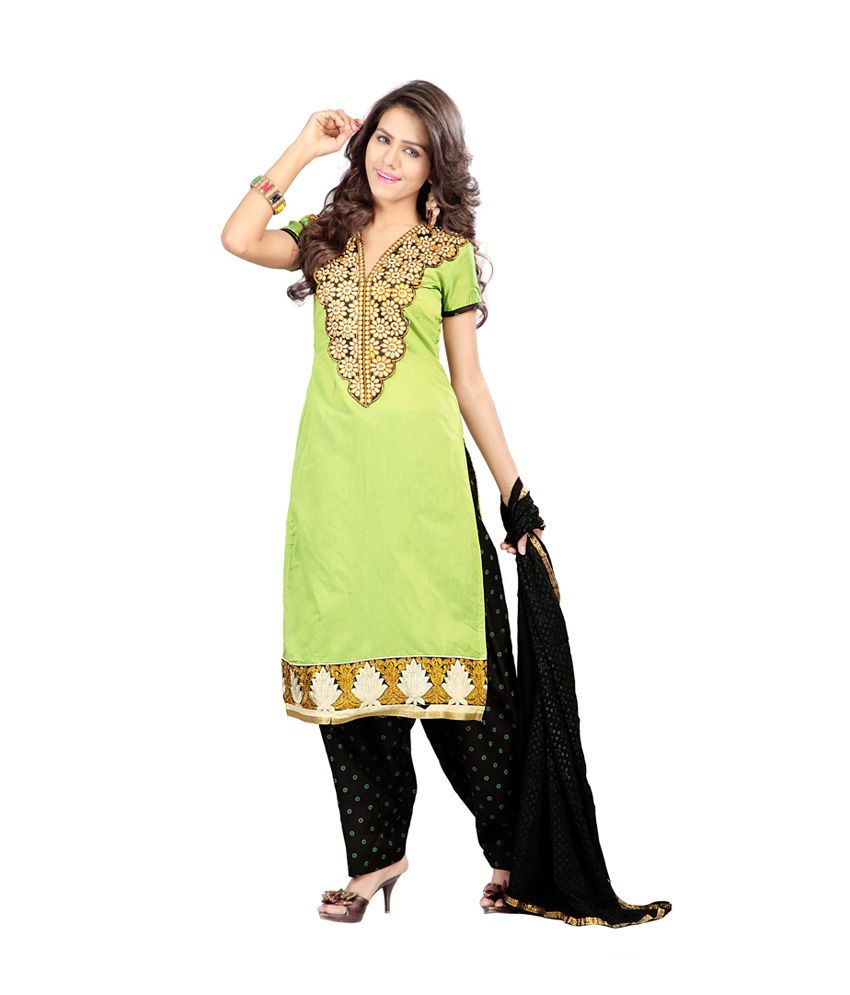 Famina Fashions Green Embroidered Cotton Straight Fit Patiala Salwar Suit
