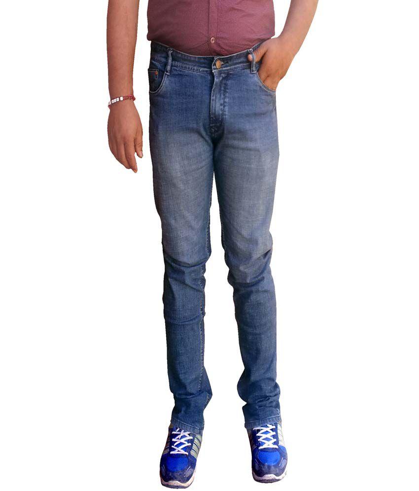 fire jeans blue cotton blend regular fit faded jeans buy. Black Bedroom Furniture Sets. Home Design Ideas