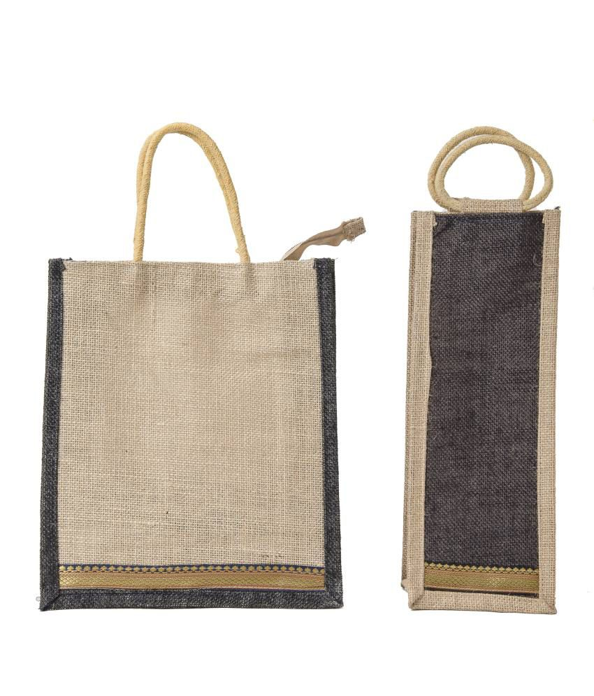 Buy Wmm Craft Black Jute Bags With Water Or Wine Bottle Bag At Best