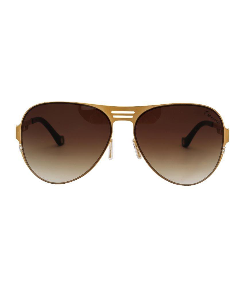 ed92150e4c2 ... Ciemme Luxury Classic Oval Men s Sunglasses Gradient Brown Lens Golden  Frame ...