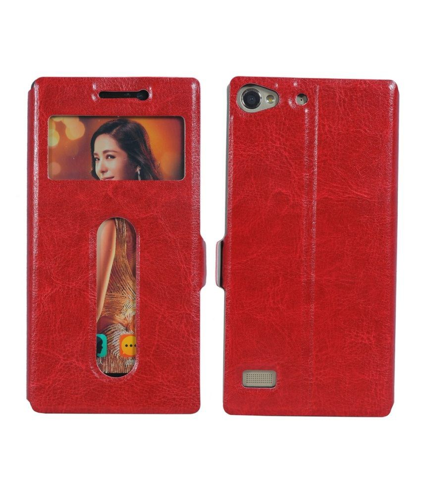 CUBIX Vintage Slim Leather Case Flip Cover With Magnetic closure and stand for Lenovo Vibe X2 (Red)