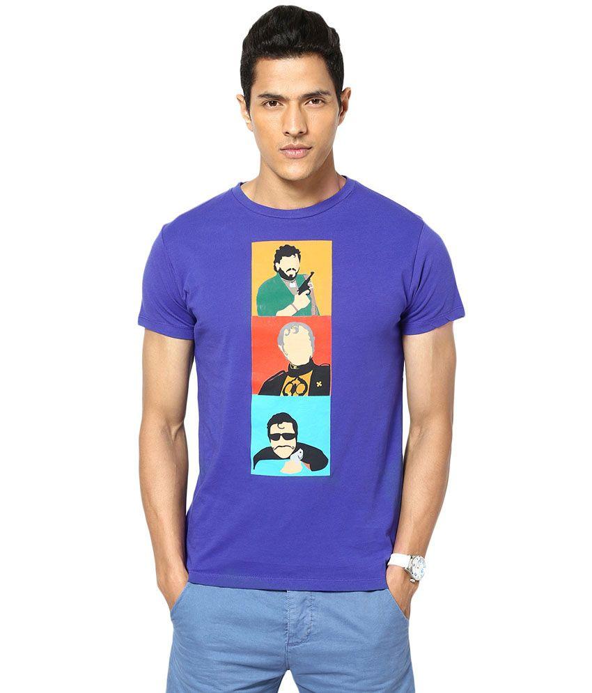Gabambo Blue Cotton Bollywood Villains Printed T Shirt