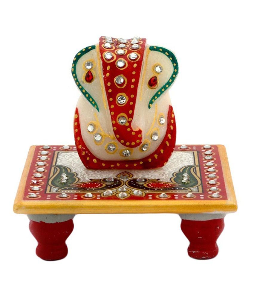 Jaipur Handicrft Meenakari Work Lord Ganesha Marble Pooja Chowki 388