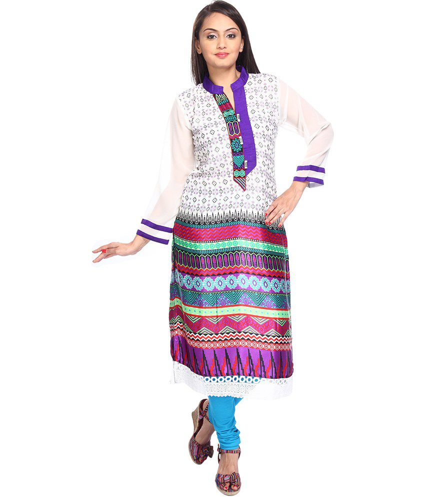 Vismit Fashions White Faux Georgette Printed Chinese Collar Kurti