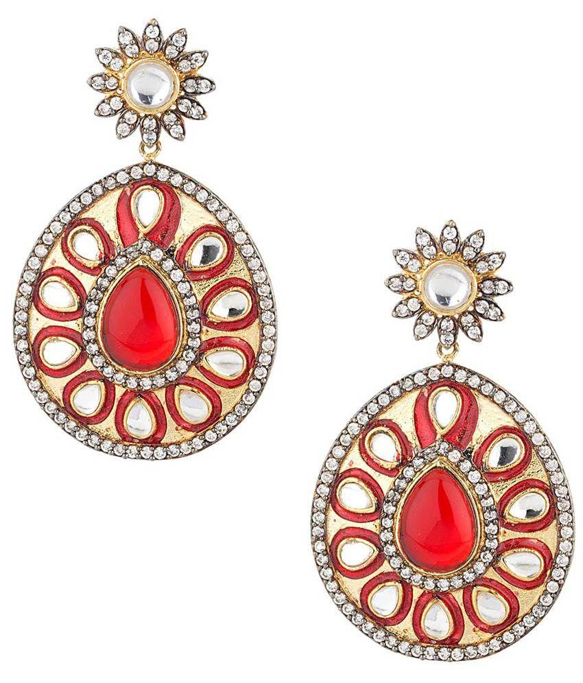 Voylla Fashionable Kundan Red Enamel Hanging Earrings