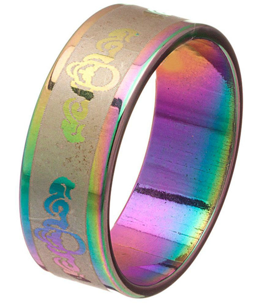 Voylla Unique Multicolour Rhodium Band Ring For Men