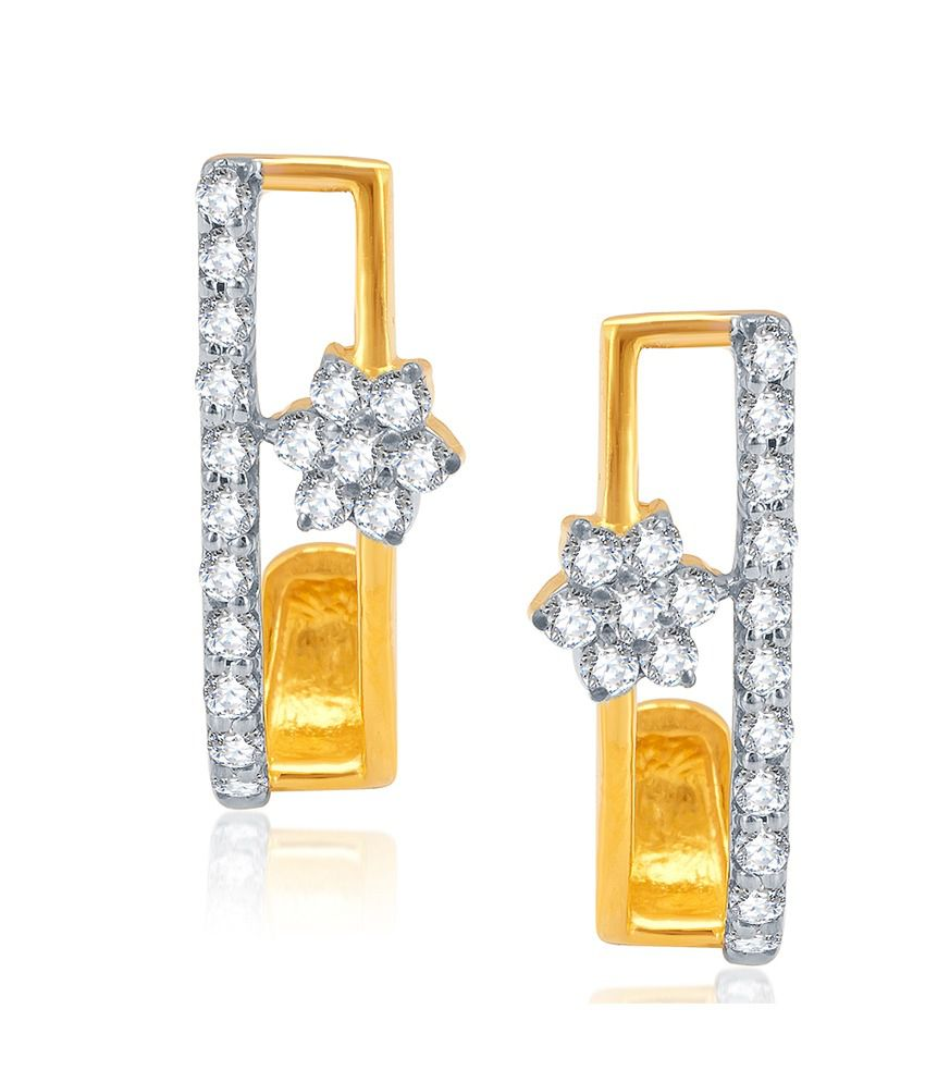 Chintamanis 18k Gold With Diamond Studded Earring
