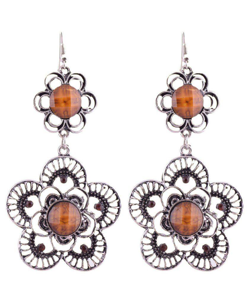 Ganapathy Gems Brown Hanging Dangle earrings
