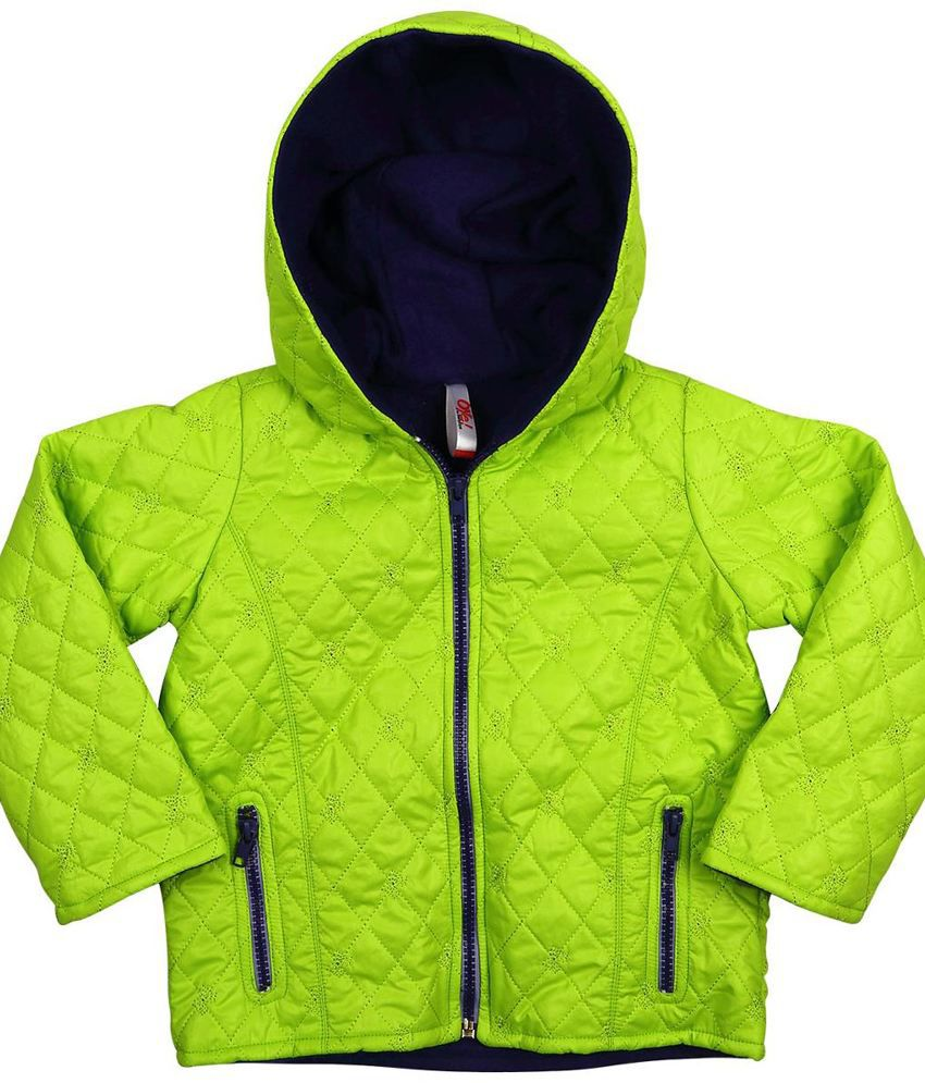 Oye Green Synthetic Padded Jacket With Hood