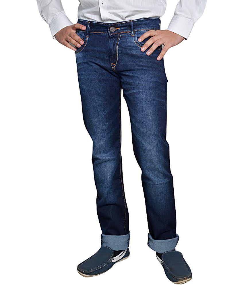Pointer Blue Cotton Blend Slim Jeans