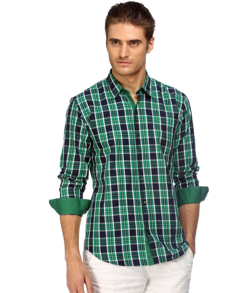 Cairon Green Herringbone Check Casual Shirt for Men