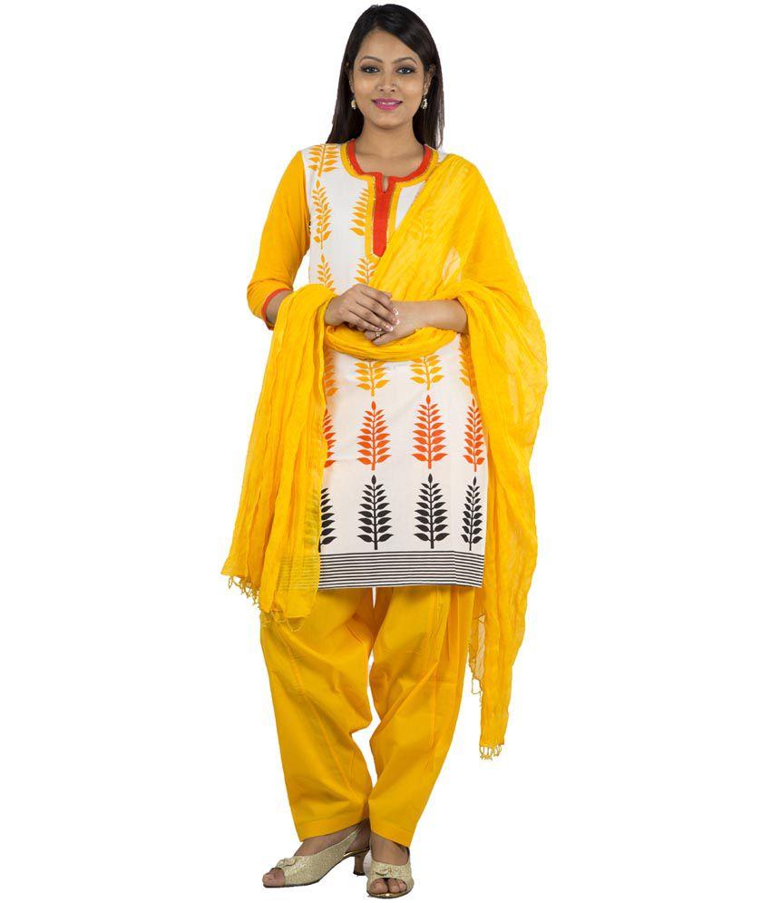 Jaipur Kurti Pure Cotton White Salwar Suit and Yellow Patiala Duptta