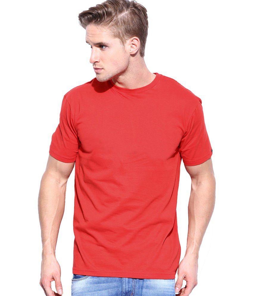 Redzo Red Round Neck Cotton T-Shirt
