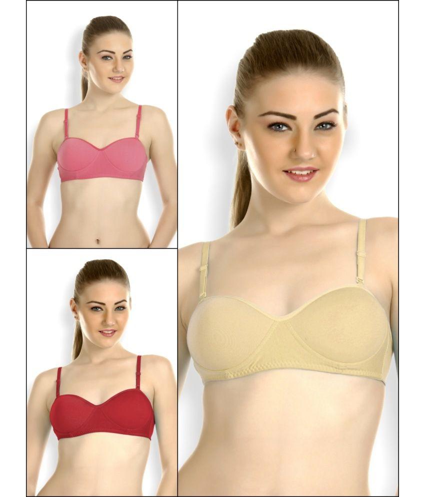 buy tweens multi color cotton padded bra pack of 3 online