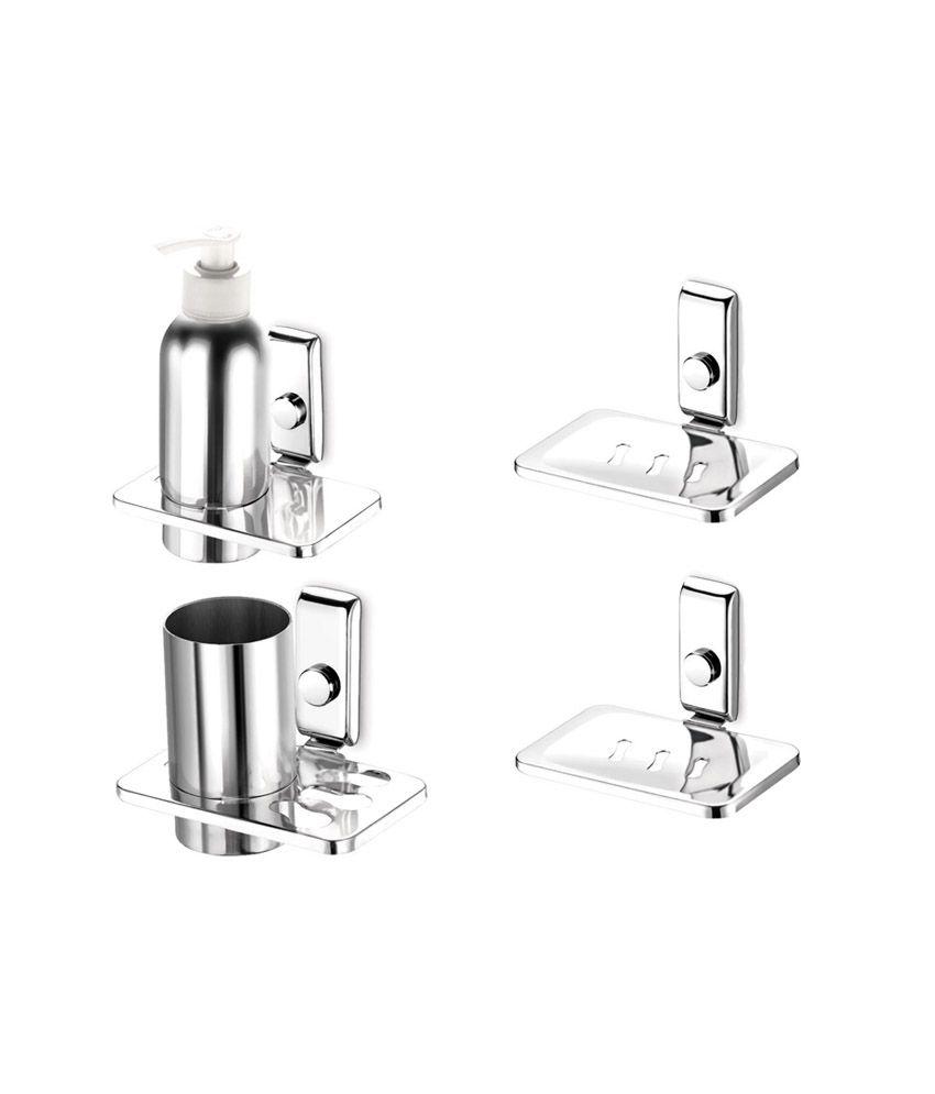Buy dazzle s s 304 4 piece bathroom accessories set online for Bathroom accessories set india