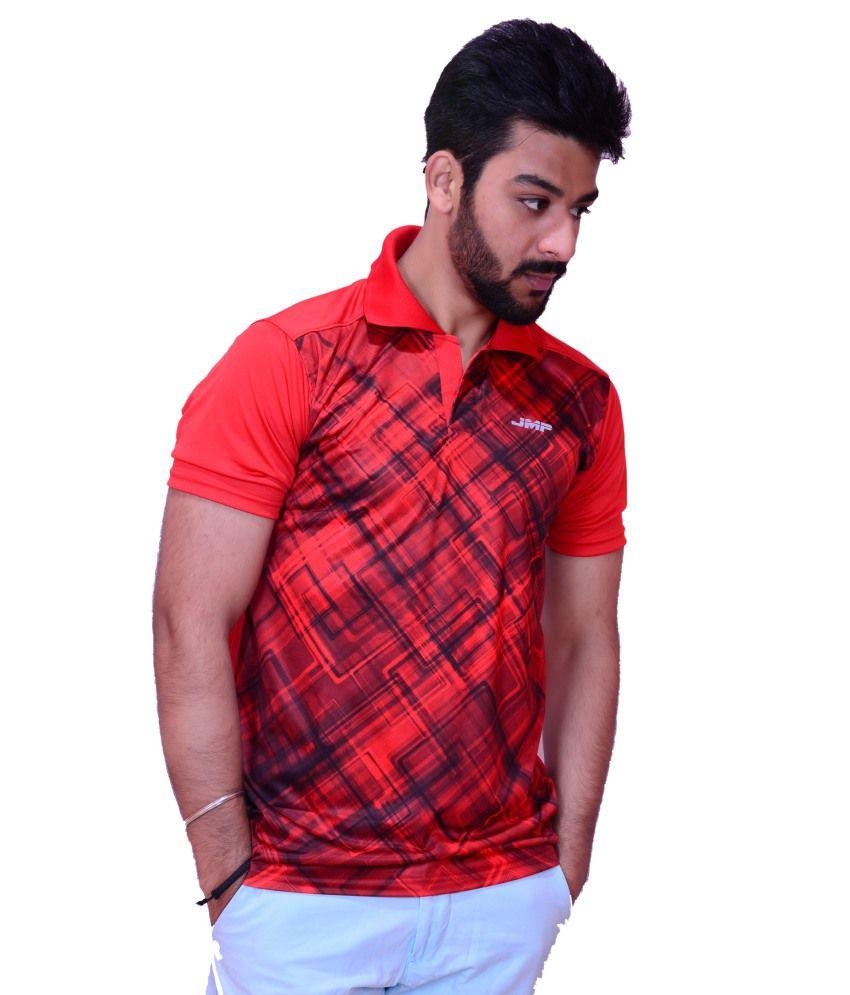 Inez Red Black Slim Fit Sports Gym Wear T-shirt