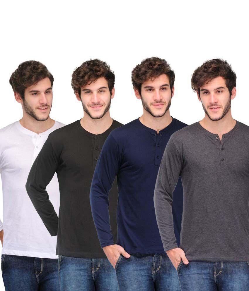 Tsx Stylish Henley Cotton T-Shirt