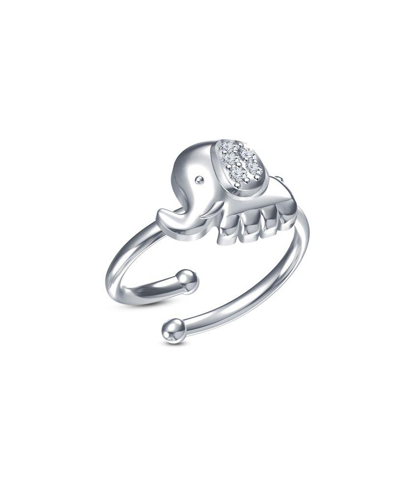 Vorra Fashion Platinum Plated 925 Sterling Silver Fancy Mini Cute Elephant Adjustable Finger Ring