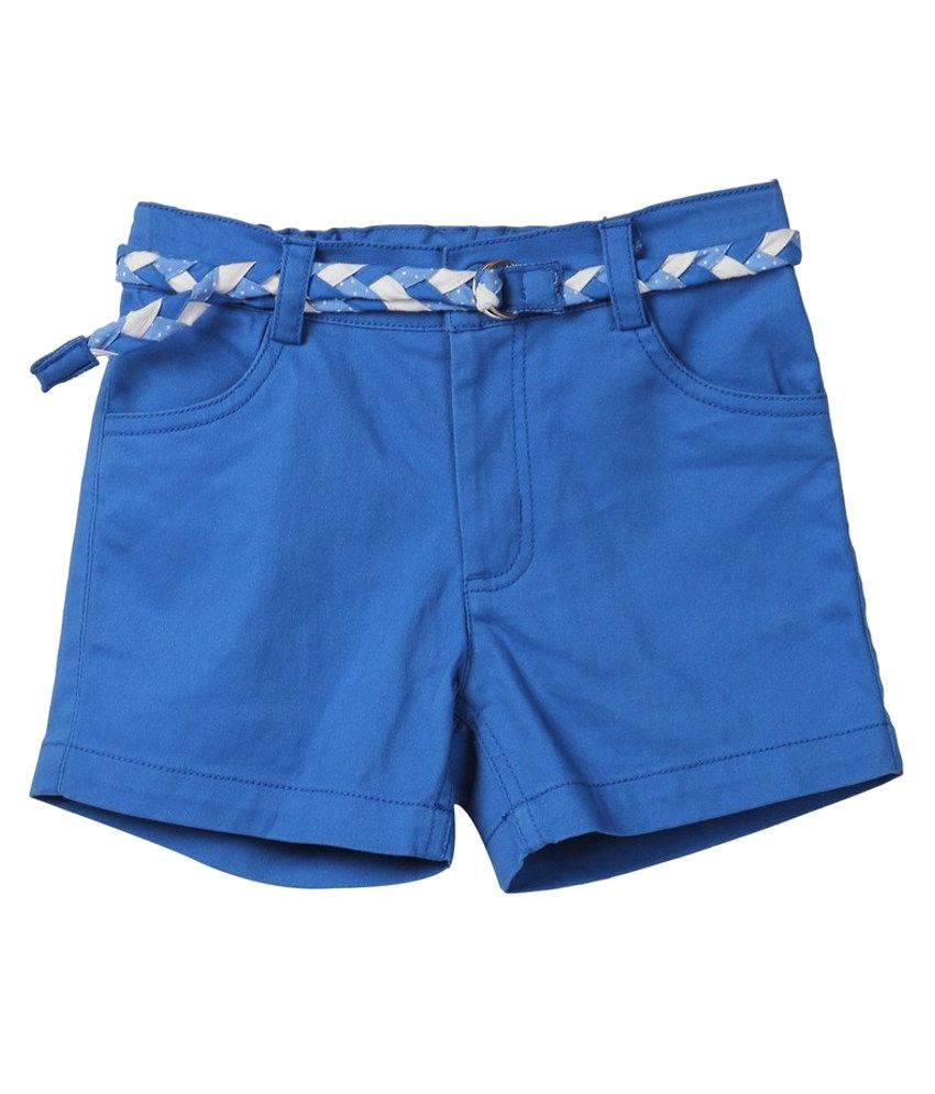 Beebay Blue Solids Cotton Shorts
