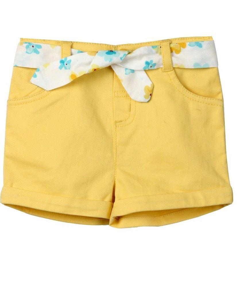 Beebay Cotton Yellow Elastic Solids Shorts