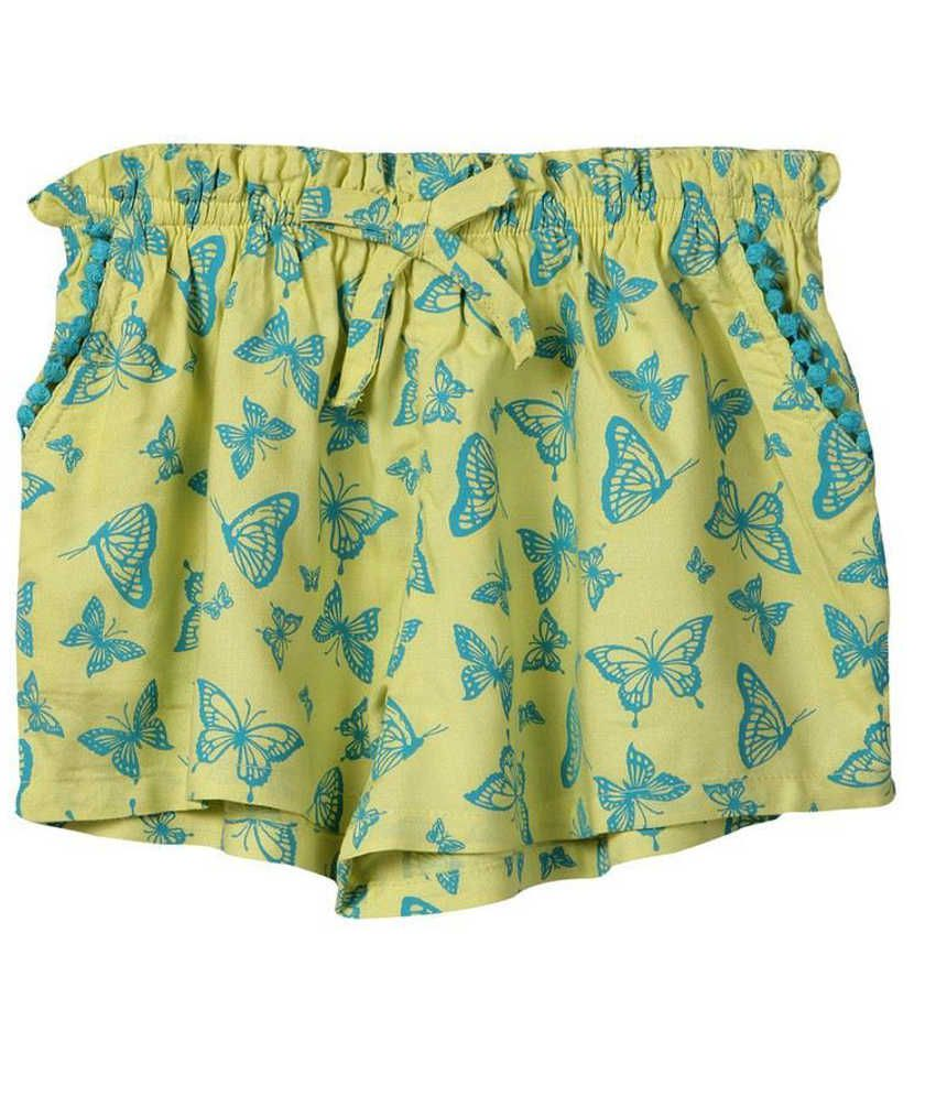 Beebay Cotton Yellow Solids Shorts