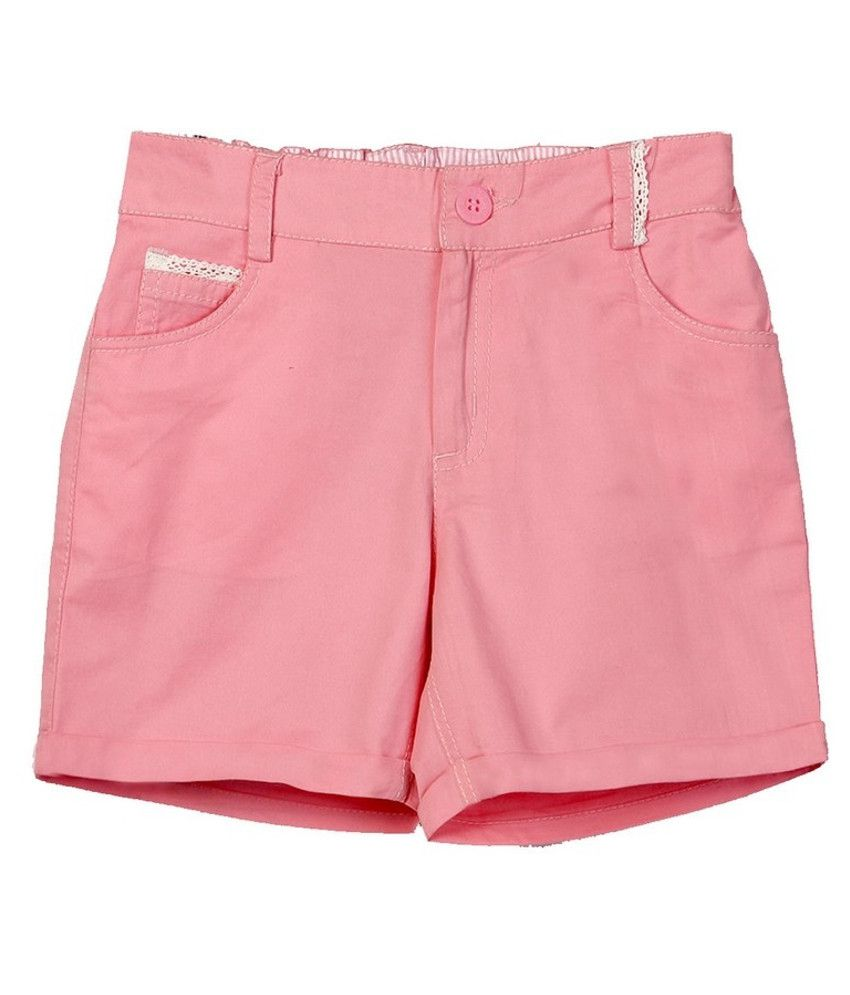 Beebay Pink Cotton Solids Shorts