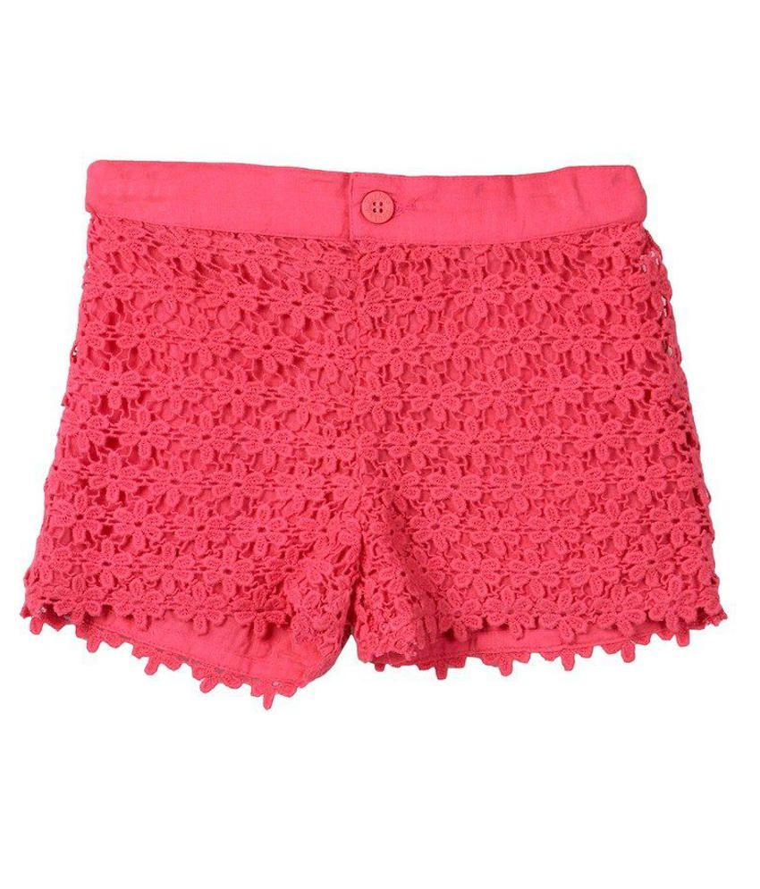 Beebay Pink Solids Cotton Shorts