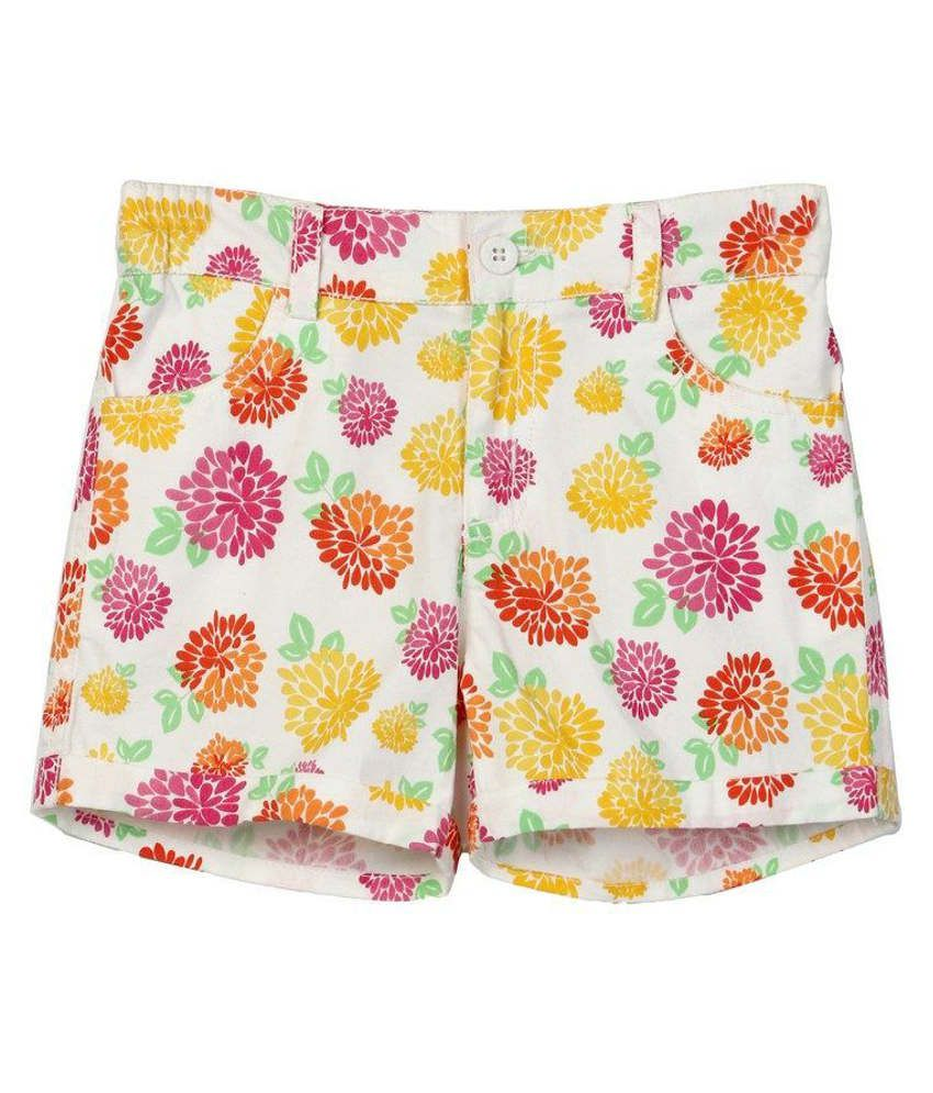 Beebay White Printed Cotton Shorts