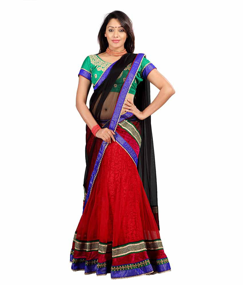 Florence Red and Black Net With Braso Cotton Lehenga