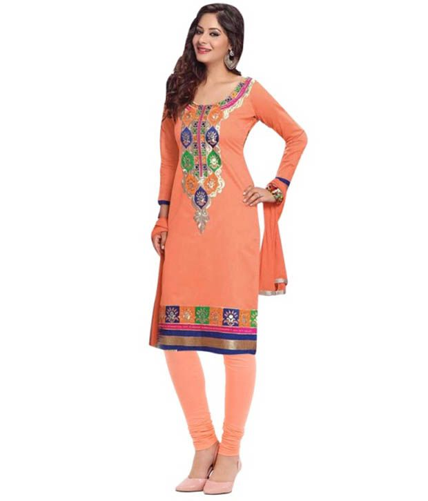 Heritage Orange Embroidered Dress Material