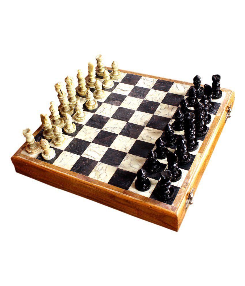 True Ninytasha Marble Playing Area 10 X 10 inch Large Chess Board with Long Chessmen
