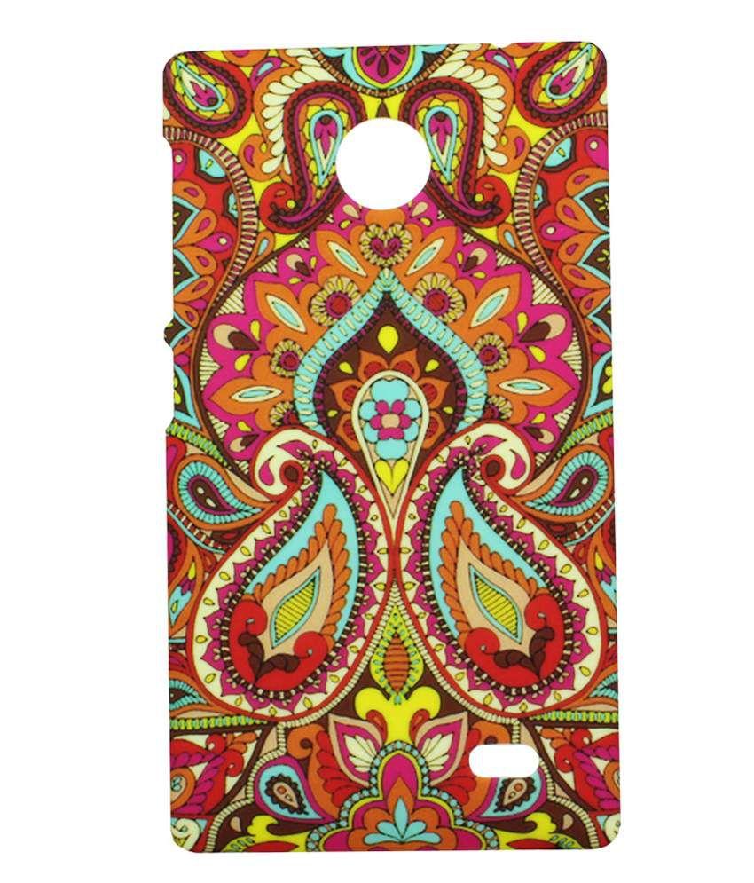 Heartly Aztec Tribal Art Printed Retro Color Armor Hard Bumper Back Case Cover For Nokia X Dual SIM RM-980 A110e - Colorful Mehndi