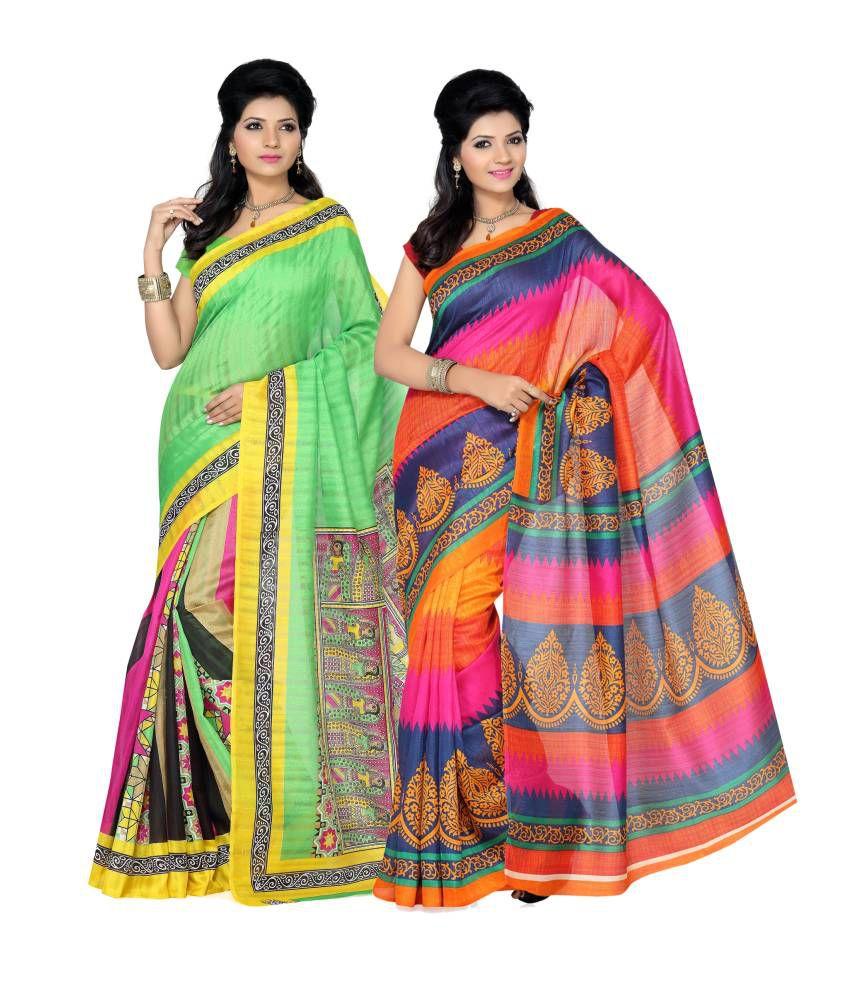 Ishin Prints Combo of 2 Bhagalpuri Silk Saree