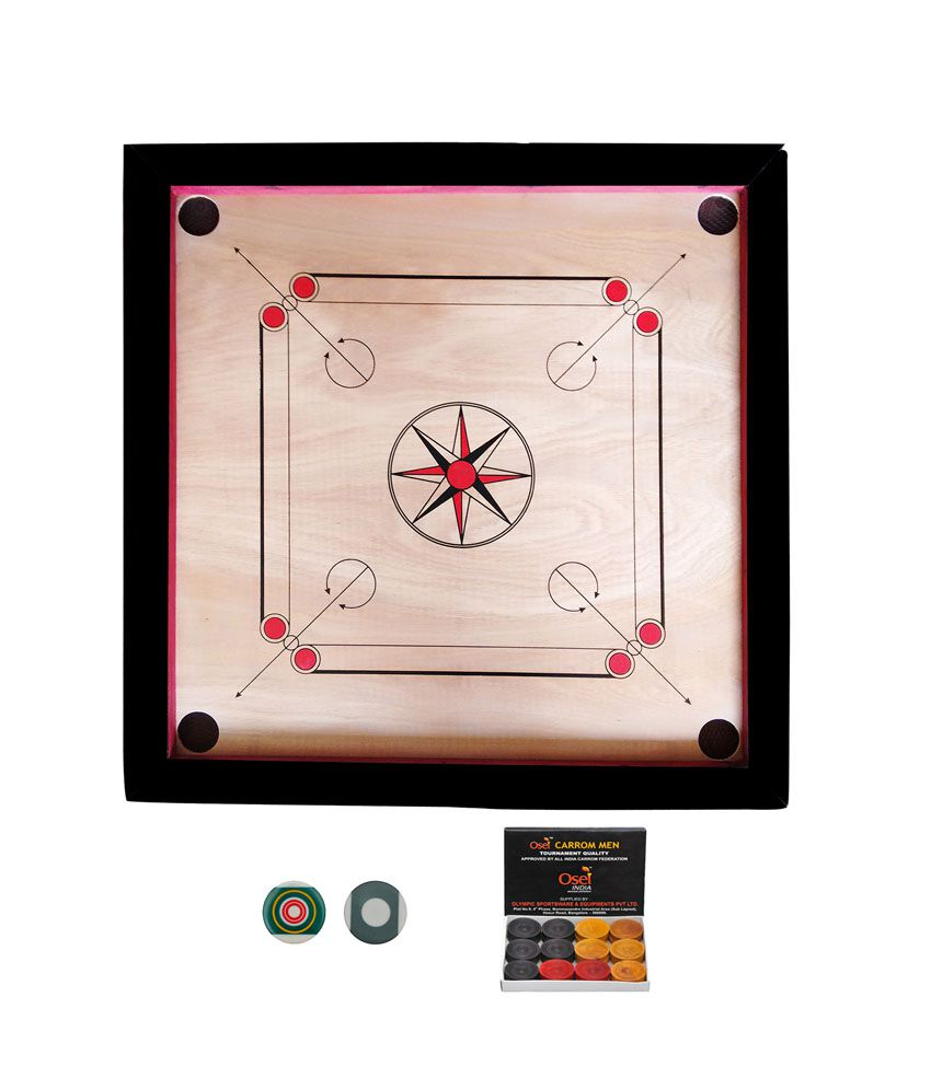 Prima Black Wooden Baby Carrom Board With a Striker And Carrom Coins