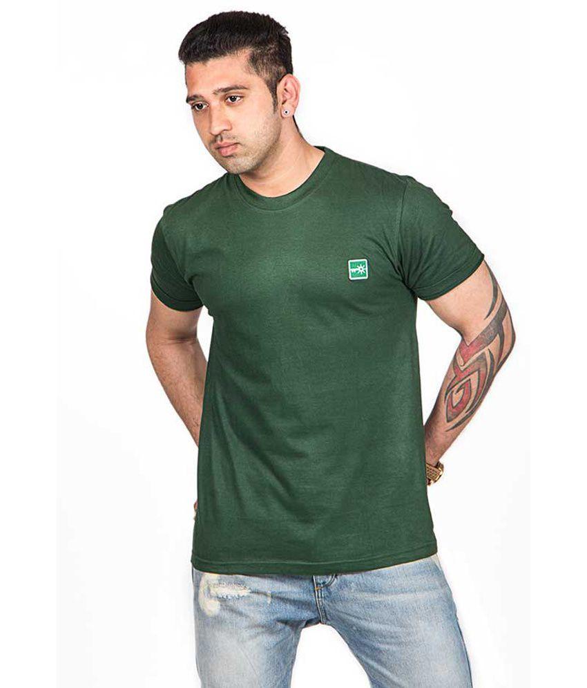 Sunkeey Round Neck Premium Plain Green T Shirt