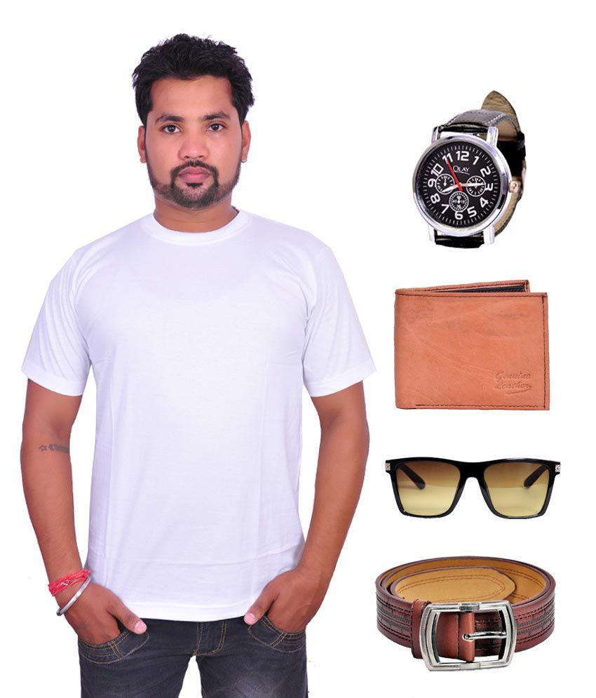 Domestiq Round Neck White T-shirt With, Men's Leather Wallet ,belt ,stylish Watch & Sunglass - Combo Of 5