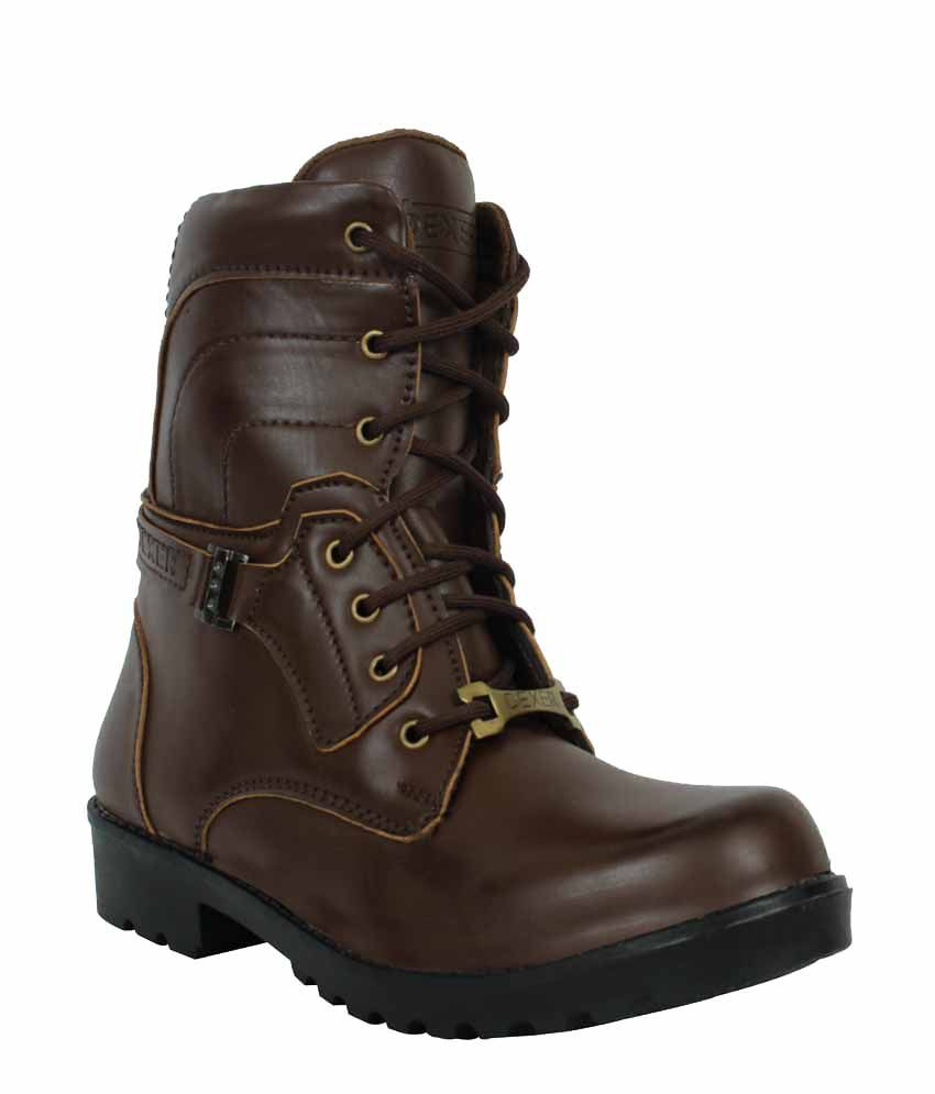 Elvace Brown Synthetic Leather Dress Boots