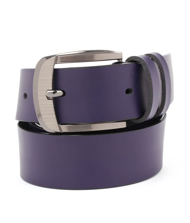 Tryzion Men Exclusive Purple Belt With Wallet And Watch Combo