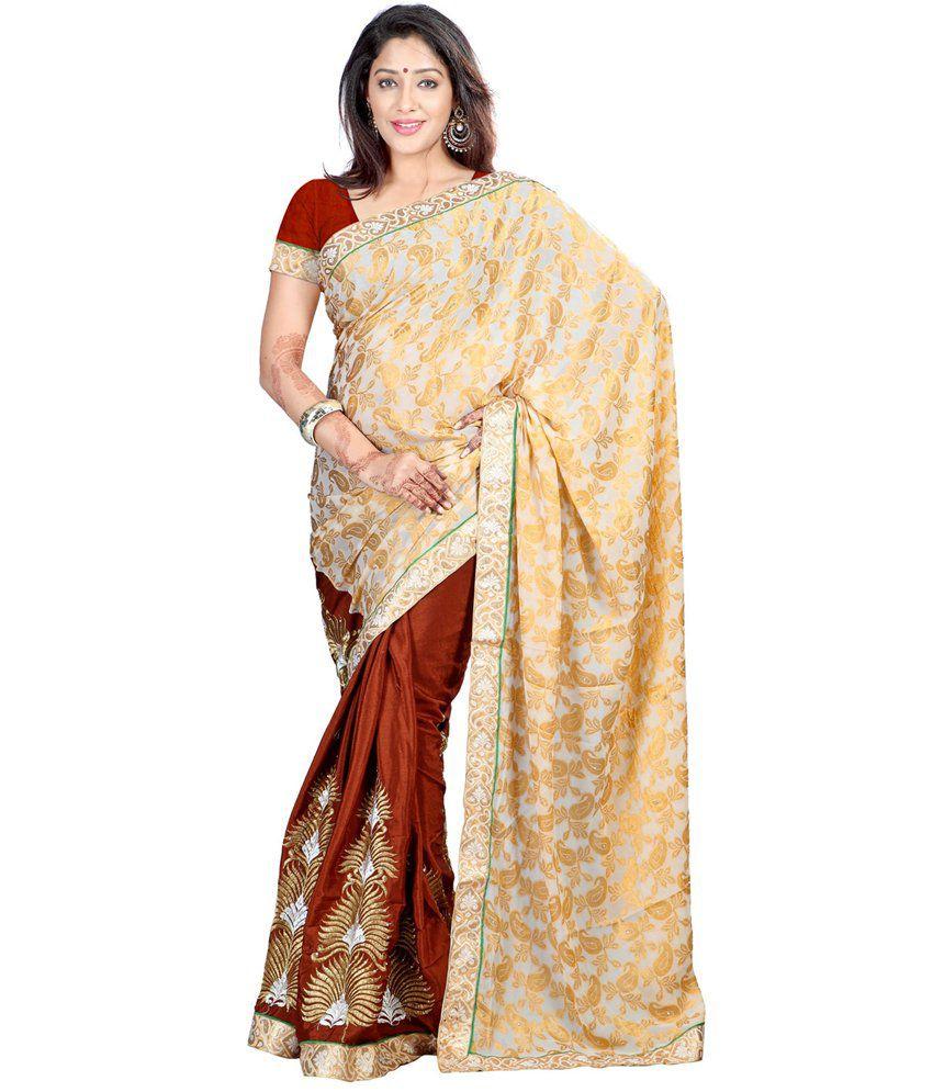 Fashiondeal Multicoloured Chiffon Saree