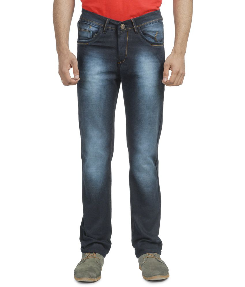 French County Blue Camel Slim Fit Cotton Jeans for Men
